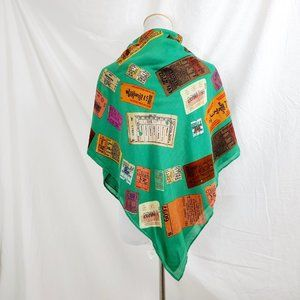 "1937 Square Scarf Wrap 38"" x 40"" J. Crew Tickets"